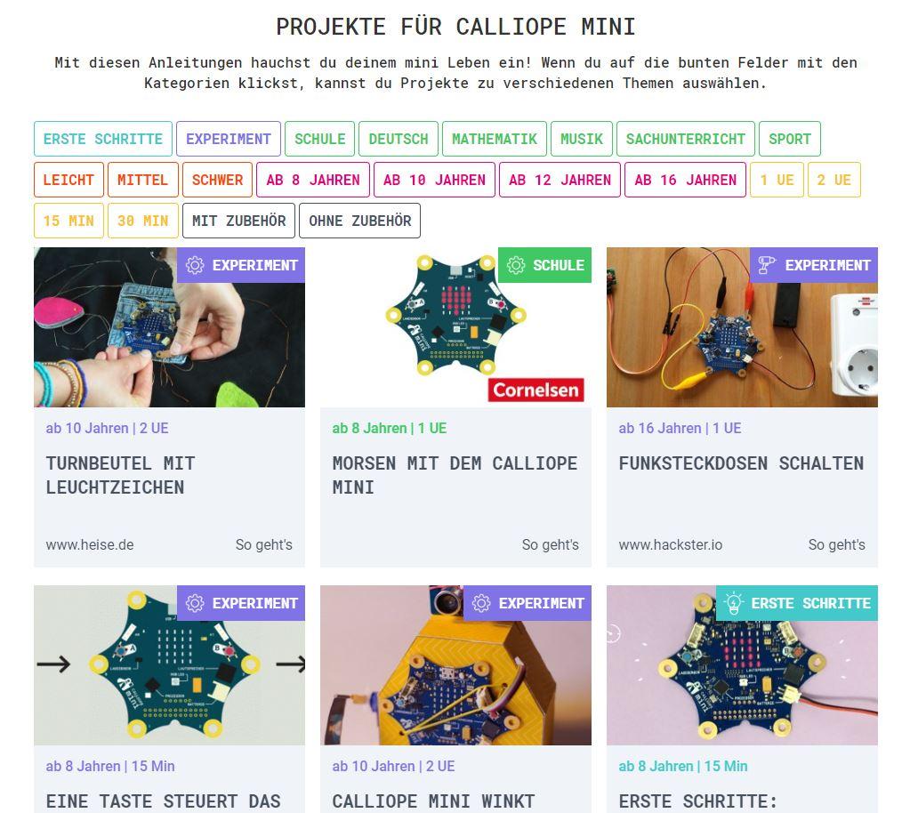 Snímka obrazovky vytvorených projektov v nemčine