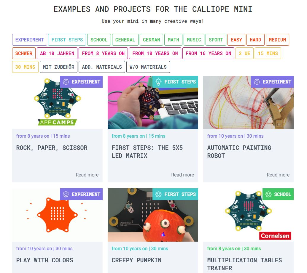 Snímka obrazovky vytvorených projektov v angličtine
